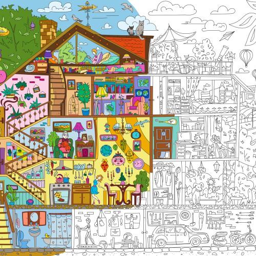 Покупка  Плакат-раскраска Дом, милый дом XХL (конверт) в  Интернет-магазин Zelenaya Vorona™