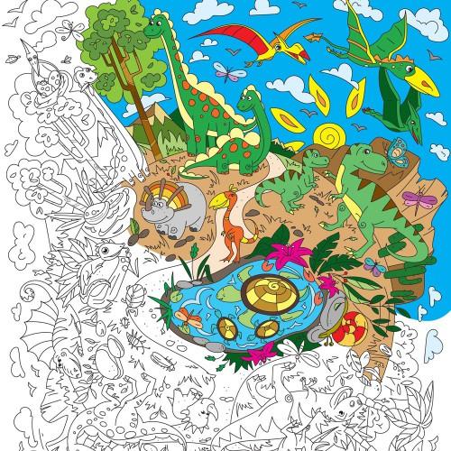 Покупка  Плакат-раскраска Диноленд XL (тубус) в  Интернет-магазин Zelenaya Vorona™