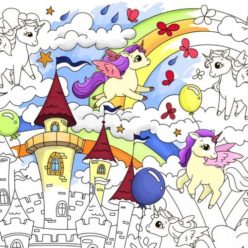 Покупка  Плакат-раскраска Единорожки в  Интернет-магазин Zelenaya Vorona™