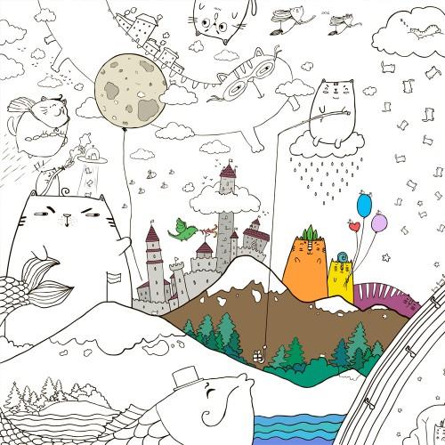 Покупка  Плакат-раскраска Котоляндия XL (тубус) в  Интернет-магазин Zelenaya Vorona™