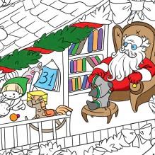 Плакат-раскраска Новогодняя. Дом Санта Клауса