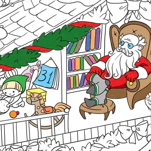 Покупка  Плакат-раскраска Новогодняя. Дом Санта Клауса в  Интернет-магазин Zelenaya Vorona™