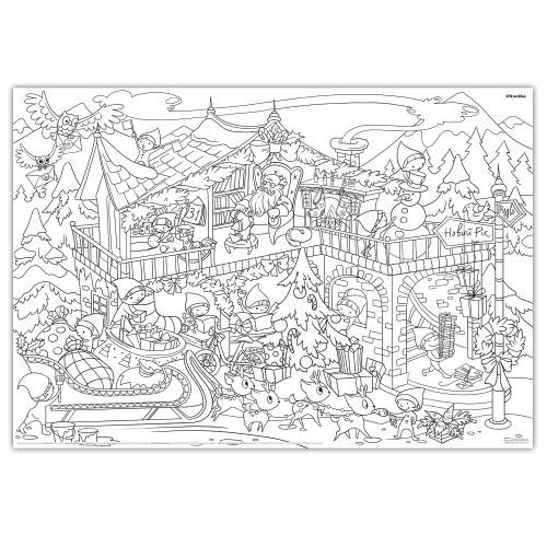 Плакат-раскраска Новогодняя. Дом Санта Клауса  в  Интернет-магазин Zelenaya Vorona™ 1