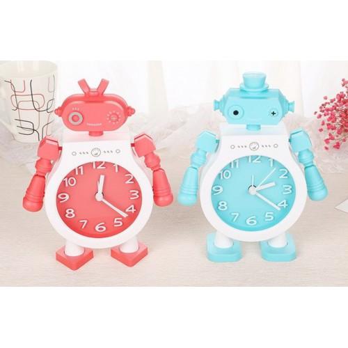 Детские настольные часы-будильник Робот. Голубой  в  Интернет-магазин Zelenaya Vorona™ 2
