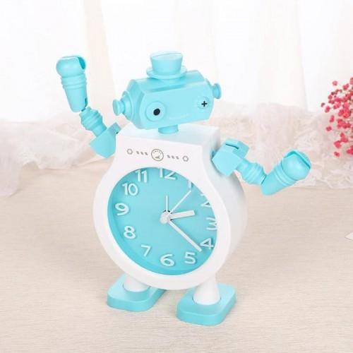 Покупка  Детские настольные часы-будильник Робот. Голубой в  Интернет-магазин Zelenaya Vorona™