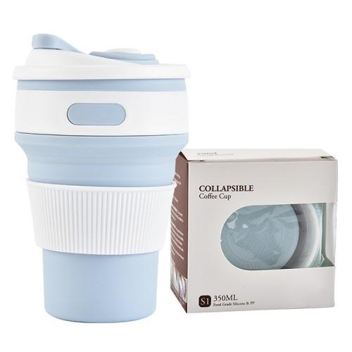 Покупка  Складная силиконовая чашка Collapsible. Голубая в  Интернет-магазин Zelenaya Vorona™