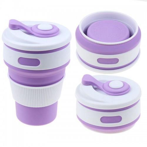 Покупка  Складная силиконовая чашка Collapsible. Лиловая  в  Интернет-магазин Zelenaya Vorona™