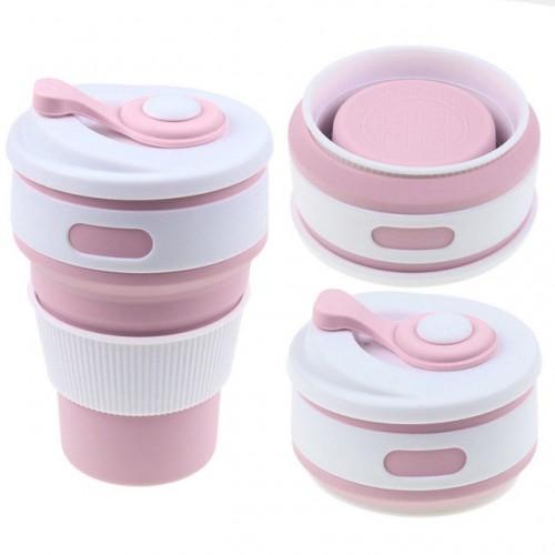 Покупка  Складная силиконовая чашка Collapsible. Розовая  в  Интернет-магазин Zelenaya Vorona™