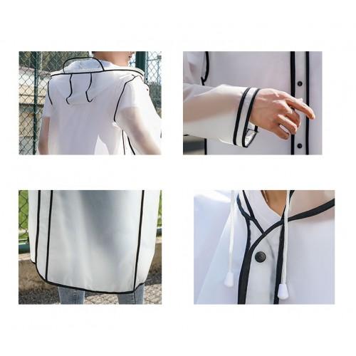 Плащ-дождевик Cat Raincoat Унисекс. Белый полупрозрачный с черным кантом  в  Интернет-магазин Zelenaya Vorona™ 4