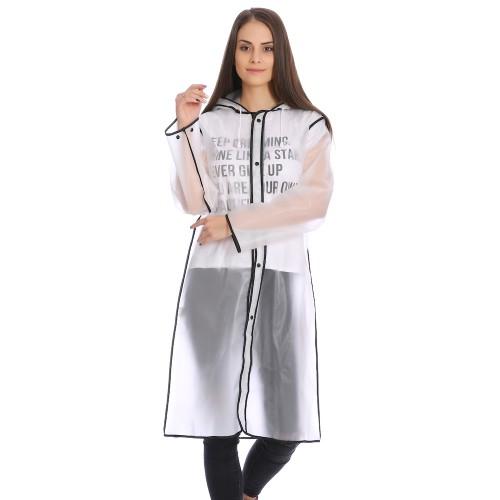 Плащ-дождевик Cat Raincoat Унисекс. Белый полупрозрачный с черным кантом  в  Интернет-магазин Zelenaya Vorona™ 1