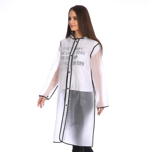 Плащ-дождевик Cat Raincoat Унисекс. Белый полупрозрачный с черным кантом  в  Интернет-магазин Zelenaya Vorona™ 2