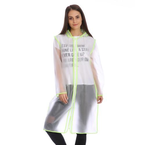 Плащ-дождевик Cat Raincoat Унисекс. Белый полупрозрачный с салатовым кантом  в  Интернет-магазин Zelenaya Vorona™ 1