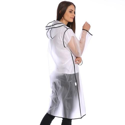 Плащ-дождевик Cat Raincoat Унисекс. Белый полупрозрачный с черным кантом  в  Интернет-магазин Zelenaya Vorona™ 3