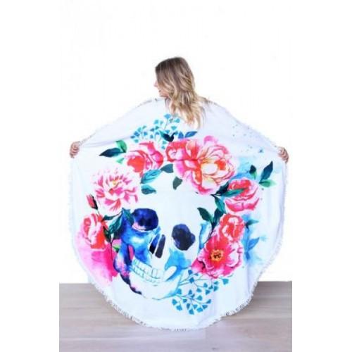 Пляжное полотенце Череп из микрофибры, круглое  в  Интернет-магазин Zelenaya Vorona™ 1