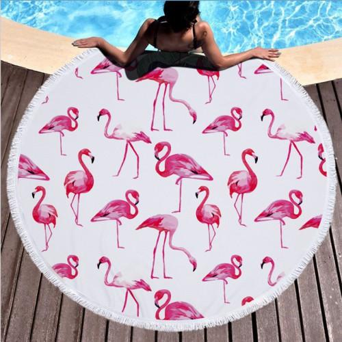 Пляжное полотенце Фламинго из микрофибры, круглое  в  Интернет-магазин Zelenaya Vorona™ 1