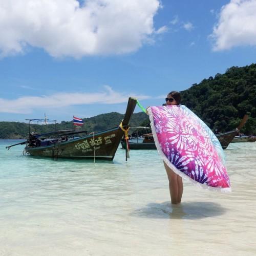Пляжное полотенце Акварели из микрофибры, круглое  в  Интернет-магазин Zelenaya Vorona™ 3