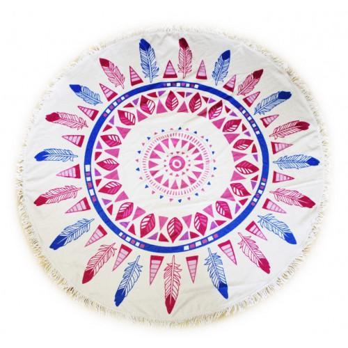 Пляжное полотенце Перья из микрофибры, круглое  в  Интернет-магазин Zelenaya Vorona™ 2
