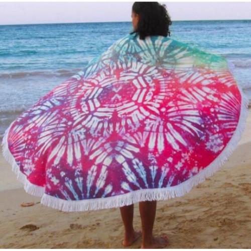 Пляжное полотенце Акварели из микрофибры, круглое  в  Интернет-магазин Zelenaya Vorona™ 2