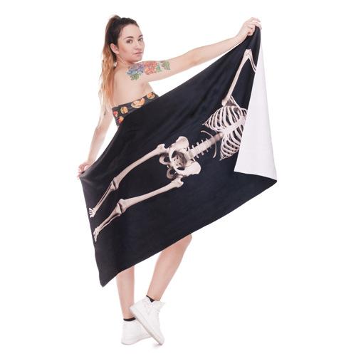 Пляжное полотенце Skeleton из микрофибры 140х70 см  в  Интернет-магазин Zelenaya Vorona™ 1