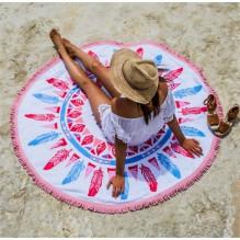 Круглое пляжное полотенце Перья. Микрофибра