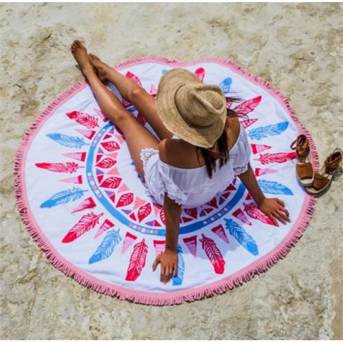 Пляжное полотенце Перья из микрофибры, круглое  в  Интернет-магазин Zelenaya Vorona™ 1