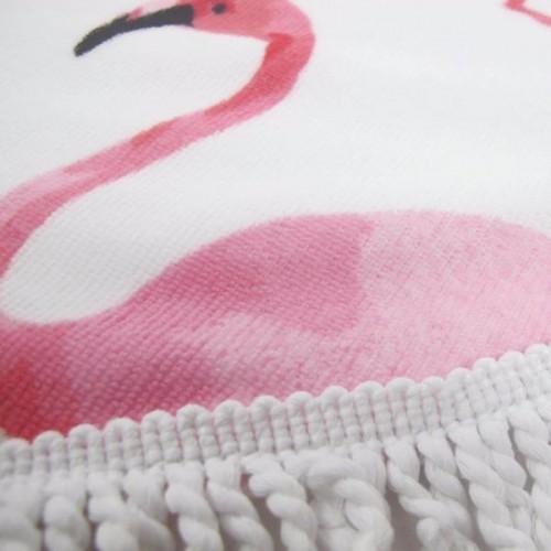 Пляжное полотенце Фламинго из микрофибры, круглое  в  Интернет-магазин Zelenaya Vorona™ 2