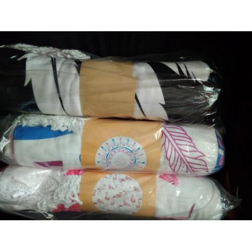 Круглое пляжное полотенце Black and white. Микрофибра  в  Интернет-магазин Zelenaya Vorona™ 6