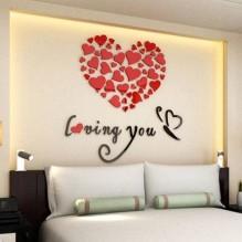 """Акриловая 3D наклейка """"Loving You"""" красный 60х60см"""