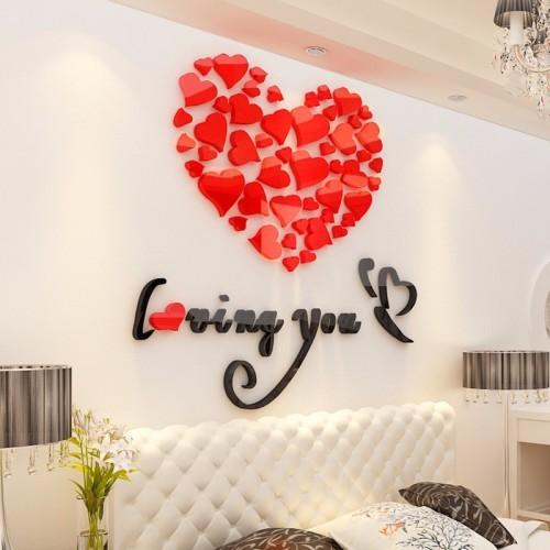 """Покупка  Акриловая 3D наклейка """"Loving You"""" красный 60х60см в  Интернет-магазин Zelenaya Vorona™"""