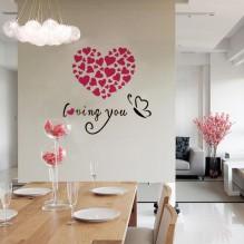 "Акриловая 3D наклейка ""Loving You"" красная роза 60х60см"