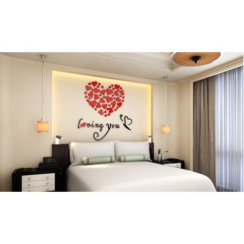 """Акриловая 3D наклейка """"Loving You"""" красный 60х60см  в  Интернет-магазин Zelenaya Vorona™ 4"""