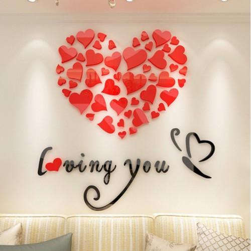 """Покупка  Акриловая 3D наклейка """"Loving You"""" красный 40х40см в  Интернет-магазин Zelenaya Vorona"""