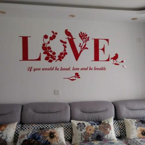 """Акриловая 3D наклейка """"Love"""" красный  в  Интернет-магазин Zelenaya Vorona™ 2"""
