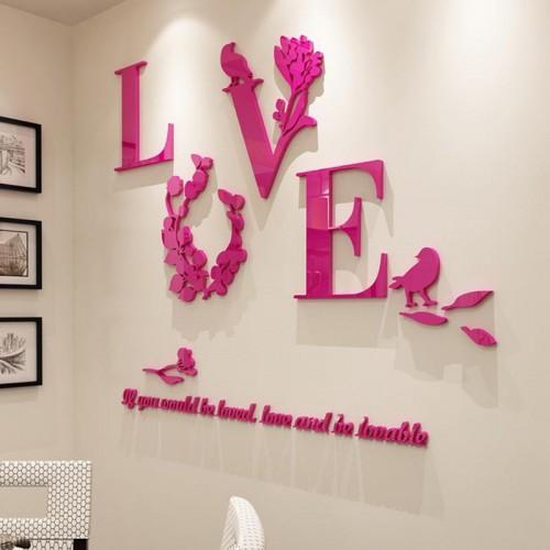 """Покупка  Акриловая 3D наклейка """"Love"""" красная роза в  Интернет-магазин Zelenaya Vorona™"""