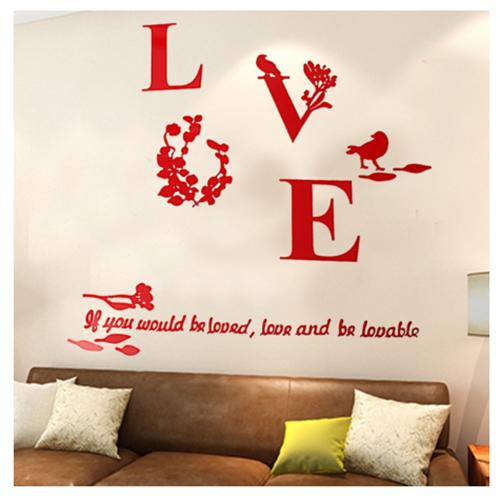 """Акриловая 3D наклейка """"Love"""" красный  в  Интернет-магазин Zelenaya Vorona™ 1"""