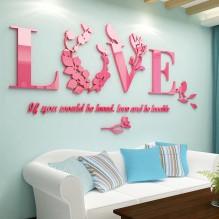 """Акриловая 3D наклейка """"Love"""" розовый"""