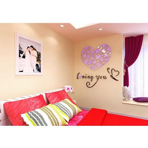 """Акриловая 3D наклейка """"Loving You"""" светло-фиолетовый 60х60см  в  Интернет-магазин Zelenaya Vorona™ 1"""