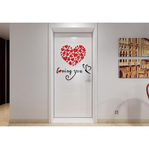 """Акриловая 3D наклейка """"Loving You"""" красный 40х40см  в  Интернет-магазин Zelenaya Vorona 3"""