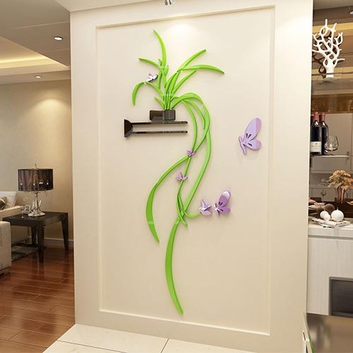 """Покупка  Акриловая 3D наклейка """"Flower"""" светло-зеленый в  Интернет-магазин Zelenaya Vorona™"""