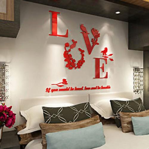 """Покупка  Акриловая 3D наклейка """"Love"""" красный в  Интернет-магазин Zelenaya Vorona™"""