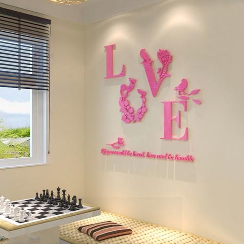 """Покупка  Акриловая 3D наклейка """"Love"""" розовый в  Интернет-магазин Zelenaya Vorona™"""