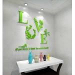 """Акриловая 3D наклейка """"Love"""" светло-зеленый"""