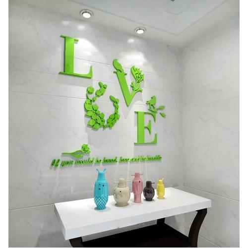 """Покупка  Акриловая 3D наклейка """"Love"""" светло-зеленый в  Интернет-магазин Zelenaya Vorona™"""