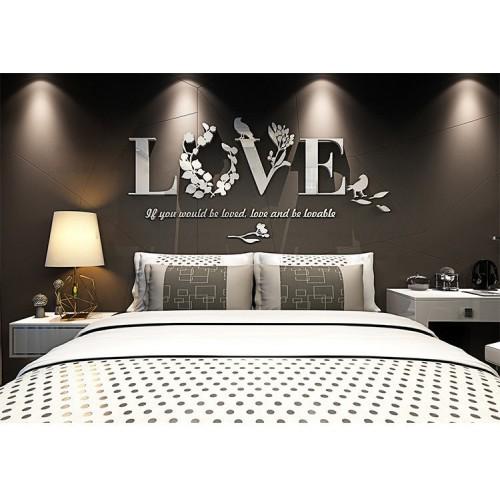 """Акриловая 3D наклейка """"Love"""" серебро  в  Интернет-магазин Zelenaya Vorona™ 1"""