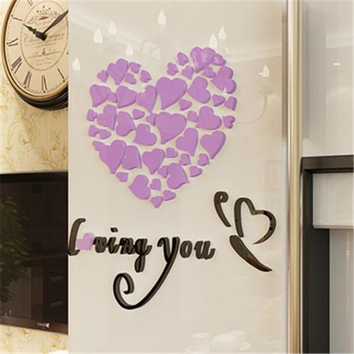 """Покупка  Акриловая 3D наклейка """"Loving You"""" светло-фиолетовый 60х60см в  Интернет-магазин Zelenaya Vorona™"""