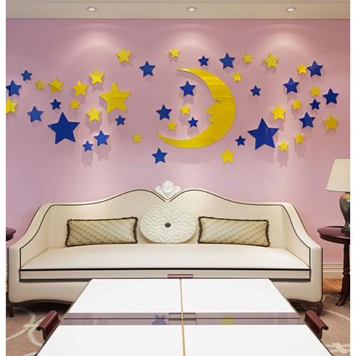 Покупка  Акриловая 3D наклейка в детскую Луна и звезды в  Интернет-магазин Zelenaya Vorona™
