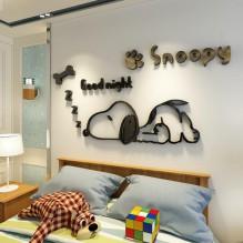 Акриловая 3D наклейка в детскую Snoopy. Черный
