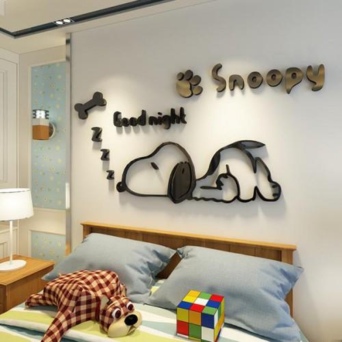 Покупка  Акриловая 3D наклейка в детскую Snoopy. Черный в  Интернет-магазин Zelenaya Vorona™