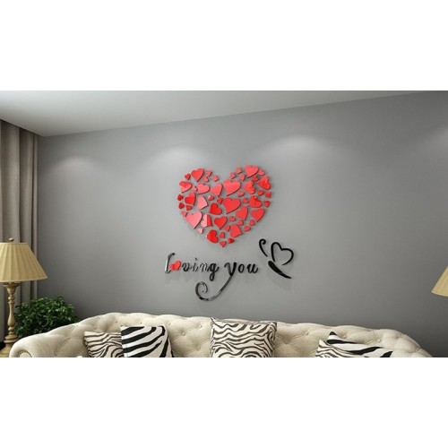"""Акриловая 3D наклейка """"Loving You"""" красный 40х40см  в  Интернет-магазин Zelenaya Vorona 4"""