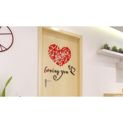"""Акриловая 3D наклейка """"Loving You"""" красный 40х40см  в  Интернет-магазин Zelenaya Vorona 1"""